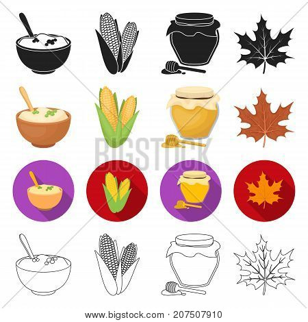 oxygen, decorations, agriculture and other  icon in different style.leaf, maple, plants, icons in set collection