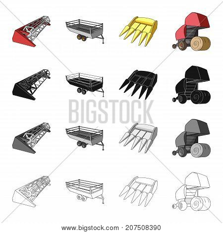 Combine harvester, hay trailer, bucket, hay packing. Different types of agricultural machinery set collection icons in cartoon black monochrome outline style vector symbol stock isometric illustration .