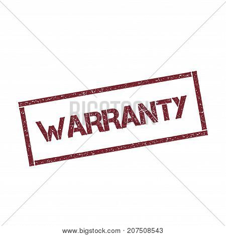 Warranty Rectangular Stamp. Textured Red Seal With Text Isolated On White Background, Vector Illustr