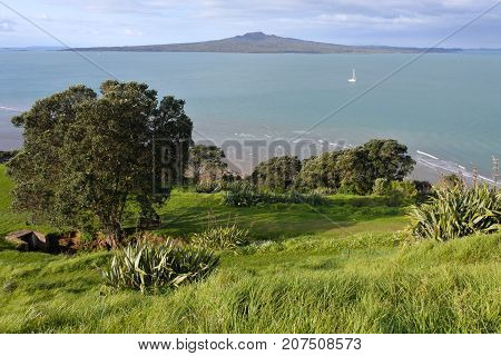 Aerial Landscape View Of Rangitoto Island New Zealand