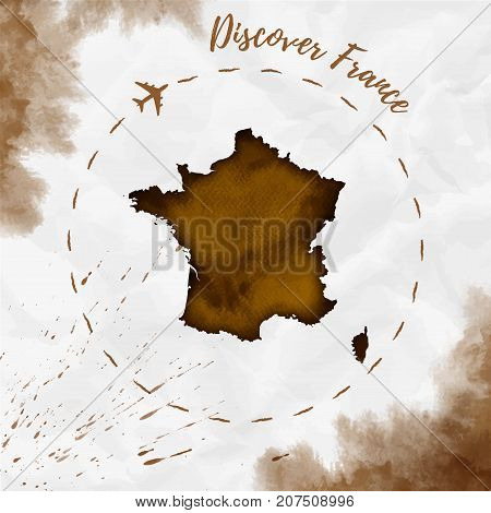 France Watercolor Map In Sepia Colors. Discover France Poster With Airplane Trace And Handpainted Wa