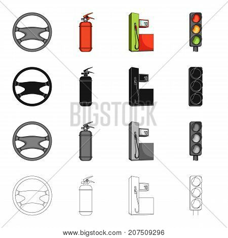 Steering wheel, fire extinguisher, gas station for the car, traffic light. Car and accessories set collection icons in cartoon black monochrome outline style vector symbol stock Isometric illustration .