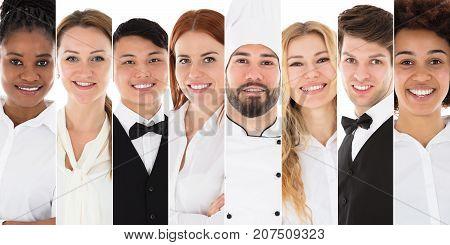 Set Of Young Restaurant Staffs Team Photos