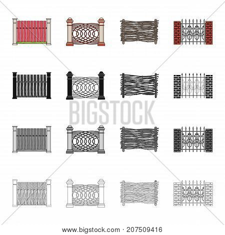 Granite, palisade, paling and other  icon in cartoon style.Fence, post, pillar, icons in set collection