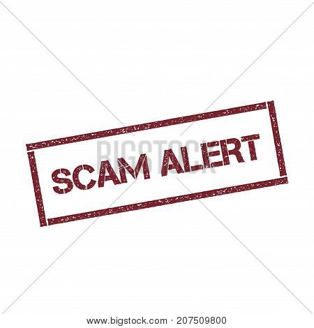 Scam Alert Rectangular Stamp. Textured Red Seal With Text Isolated On White Background, Vector Illus