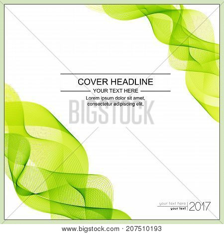 Universal Covers Design with Light Green Wave Line on White Background. Templates for Business Presentation Publications Blank.