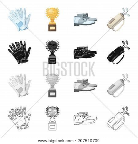 Attributes, gloves, fabric, and other  icon in cartoon style.Attributes, golf, competitions icons in set collection