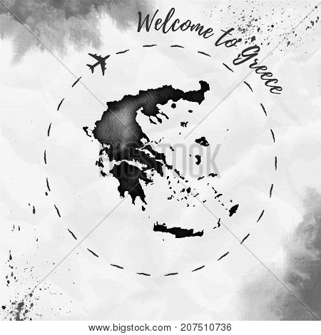 Greece Watercolor Map In Black Colors. Welcome To Greece Poster With Airplane Trace And Handpainted