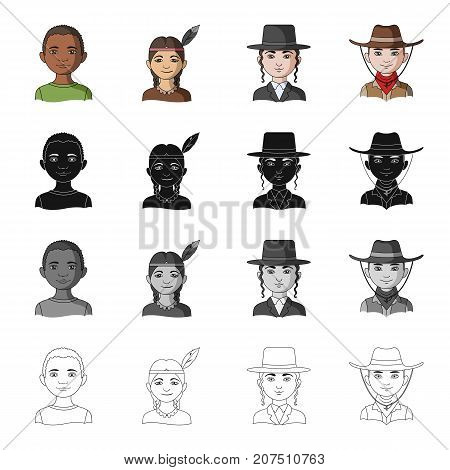 Different race of Negro, Indian, Jew, American. The human race set collection icons in cartoon black monochrome outline style vector symbol stock illustration .
