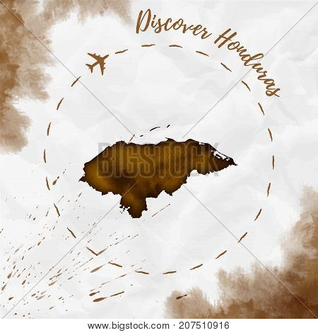 Honduras Watercolor Map In Sepia Colors. Discover Honduras Poster With Airplane Trace And Handpainte