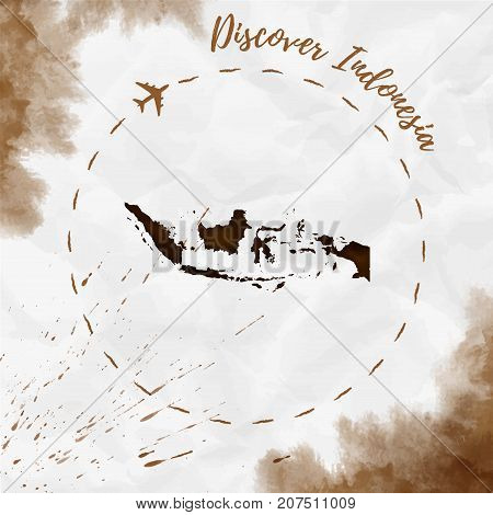 Indonesia Watercolor Map In Sepia Colors. Discover Indonesia Poster With Airplane Trace And Handpain