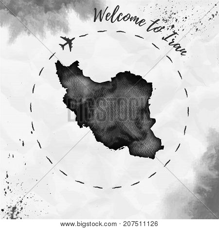 Iran Watercolor Map In Black Colors. Welcome To Iran Poster With Airplane Trace And Handpainted Wate