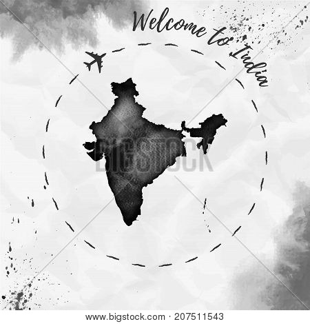 India Watercolor Map In Black Colors. Welcome To India Poster With Airplane Trace And Handpainted Wa