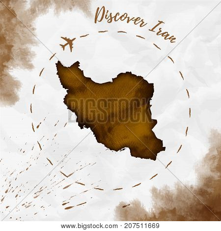Iran Watercolor Map In Sepia Colors. Discover Iran Poster With Airplane Trace And Handpainted Waterc