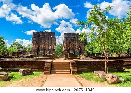 Scenic view of Royal Palace of King Parakramabahu the Great in the world heritage city Polonnaruwa, Sri Lanka