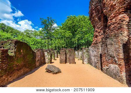 Interior view of Royal Palace of King Parakramabahu the Great in the world heritage city Polonnaruwa, Sri Lanka