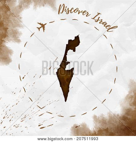 Israel Watercolor Map In Sepia Colors. Discover Israel Poster With Airplane Trace And Handpainted Wa