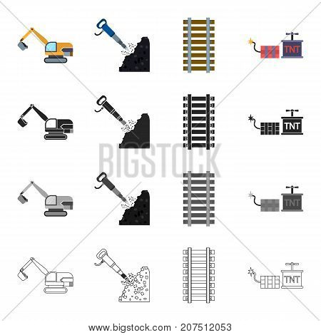 Mining, industry, equipment and other  icon in cartoon style.Explosion, means, transportation icons in set collection.