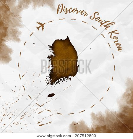 South Korea Watercolor Map In Sepia Colors. Discover South Korea Poster With Airplane Trace And Hand