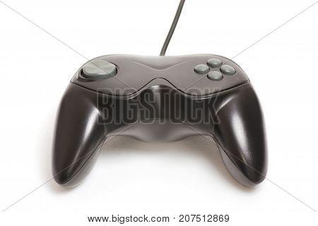 gamepad gaming black plastic on white background isolation