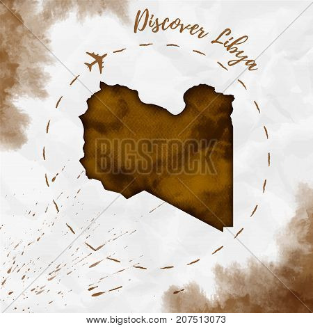 Libya Watercolor Map In Sepia Colors. Discover Libya Poster With Airplane Trace And Handpainted Wate