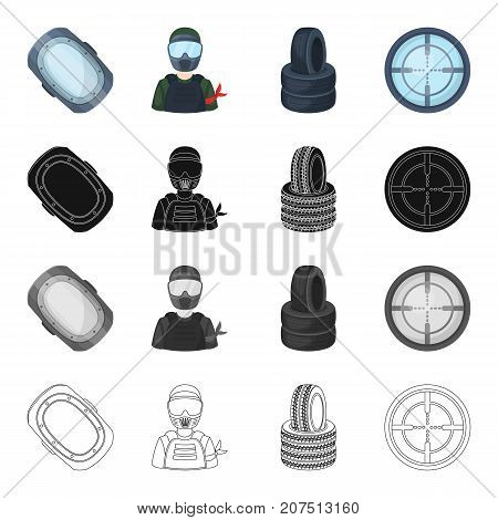 Attributes, protection, knee and other  icon in cartoon style.Goal, game, paintball, icons in set collection