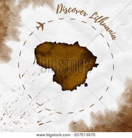 Lithuania Watercolor Map In Sepia Colors. Discover Lithuania Poster With Airplane Trace And Handpain