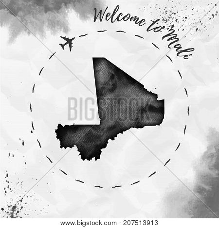 Mali Watercolor Map In Black Colors. Welcome To Mali Poster With Airplane Trace And Handpainted Wate