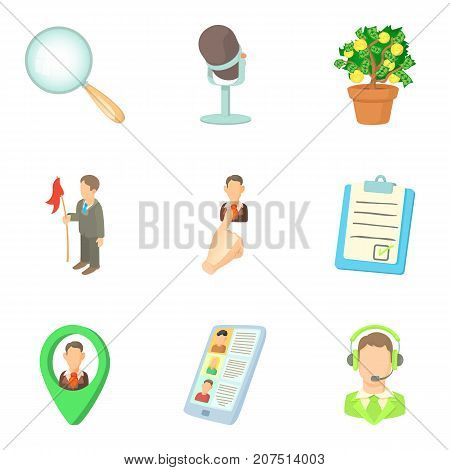 Job icons set. Cartoon set of 9 job vector icons for web isolated on white background
