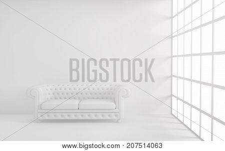 White light room with sofa, window and empty background wall. 3d rendering