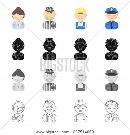 Profession, vocation, hobby and other  icon in cartoon style.Policeman, badge, textiles, icons in set collection