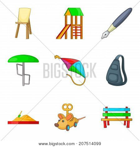 Open area icons set. Cartoon set of 9 open area vector icons for web isolated on white background