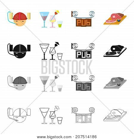 Helmet with cans of beer, glasses with alcohol, a pub sign, chopped ham. Pub and party set collection icons in cartoon black monochrome outline style vector symbol stock isometric illustration .
