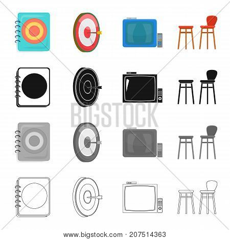 Menu in the pub, Darts game, TV with remote control, chair . Pub and party set collection icons in cartoon black monochrome outline style vector symbol stock isometric illustration .