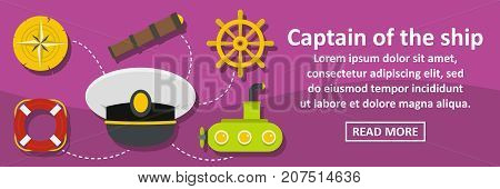 Captain of the ship banner horizontal concept. Flat illustration of captain of the ship banner horizontal vector concept for web design