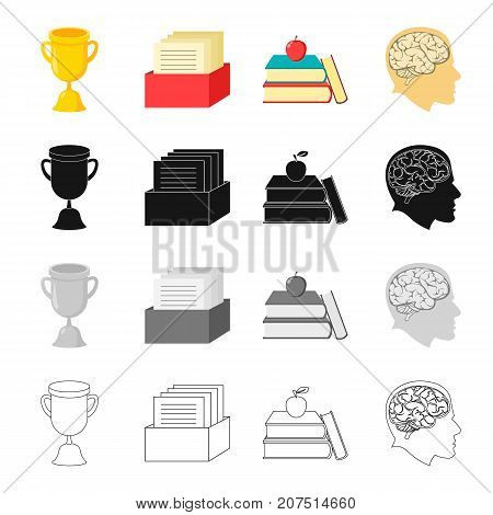 Information, study, specialty and other  icon in cartoon style.Head, brain, thoughts, icons in set collection