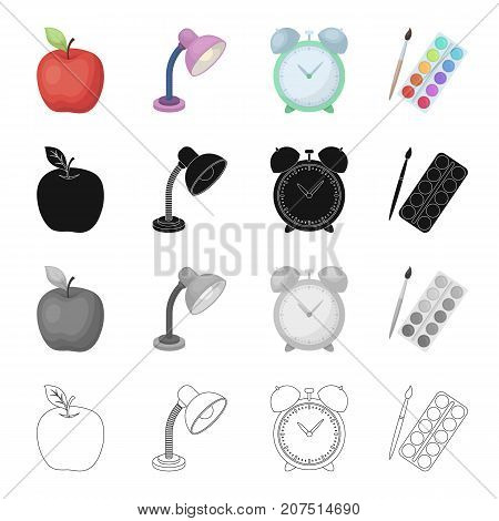 Apple, table lamp, clock alarm clock, school supplies paint and brush. School and learning set collection icons in cartoon black monochrome outline style vector symbol stock isometric illustration .