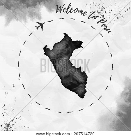 Peru Watercolor Map In Black Colors. Welcome To Peru Poster With Airplane Trace And Handpainted Wate