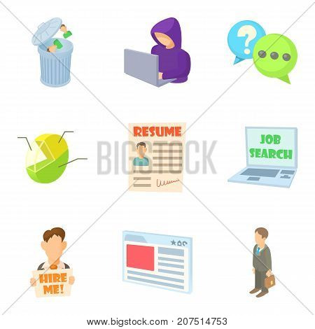 Job vacancy icons set. Cartoon set of 9 job vacancy vector icons for web isolated on white background