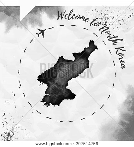North Korea Watercolor Map In Black Colors. Welcome To North Korea Poster With Airplane Trace And Ha
