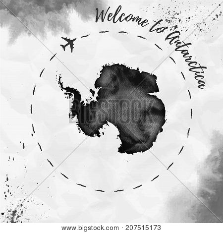 Antarctica Watercolor Map In Black Colors. Welcome To Antarctica Poster With Airplane Trace And Hand