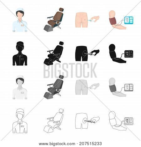 Medical worker, dental chair, injection in the buttock, measurement of blood pressure. Medicine set collection icons in cartoon black monochrome outline style vector symbol stock isometric illustration .