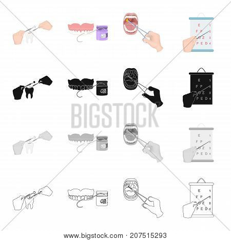Filling of the tooth, dental care, medical treatment of the throat, vision check. Medicine and dentistry set collection icons in cartoon black monochrome outline style vector symbol stock isometric illustration .