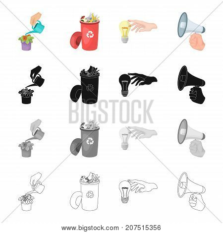 Watering a houseplant, a garbage can, a light bulb in his hand, a megaphone in hand. Movement and manipulation set collection icons in cartoon black monochrome outline style vector symbol stock isometric illustration .