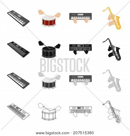 Electroorgan, playing the drum, saxophone, hand movement, musical instrument. Playing the Instrument set collection icons in cartoon black monochrome outline style vector symbol stock isometric illustration .