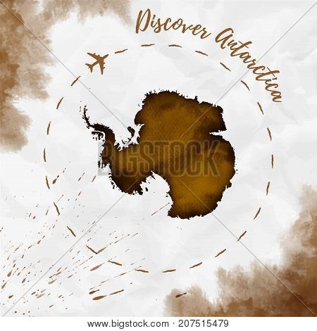 Antarctica Watercolor Map In Sepia Colors. Discover Antarctica Poster With Airplane Trace And Handpa