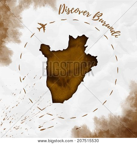 Burundi Watercolor Map In Sepia Colors. Discover Burundi Poster With Airplane Trace And Handpainted