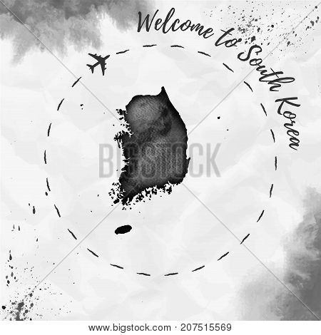 South Korea Watercolor Map In Black Colors. Welcome To South Korea Poster With Airplane Trace And Ha