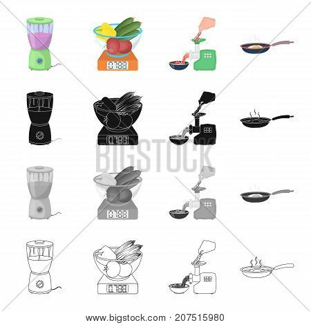 Scales with a bowl of vegetables, a blender for cooking, an electric meat grinder, a frying pan with a fried egg. Cooking food set collection icons in cartoon black monochrome outline style vector symbol stock illustration isometric .