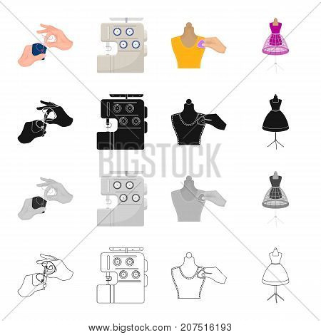 Hands embroiderers, sewing machine in the atelier, chalking on a mannequin, dress on a mannequin. Atelier and sewing set collection icons in cartoon black monochrome outline style vector symbol stock illustration isometric .
